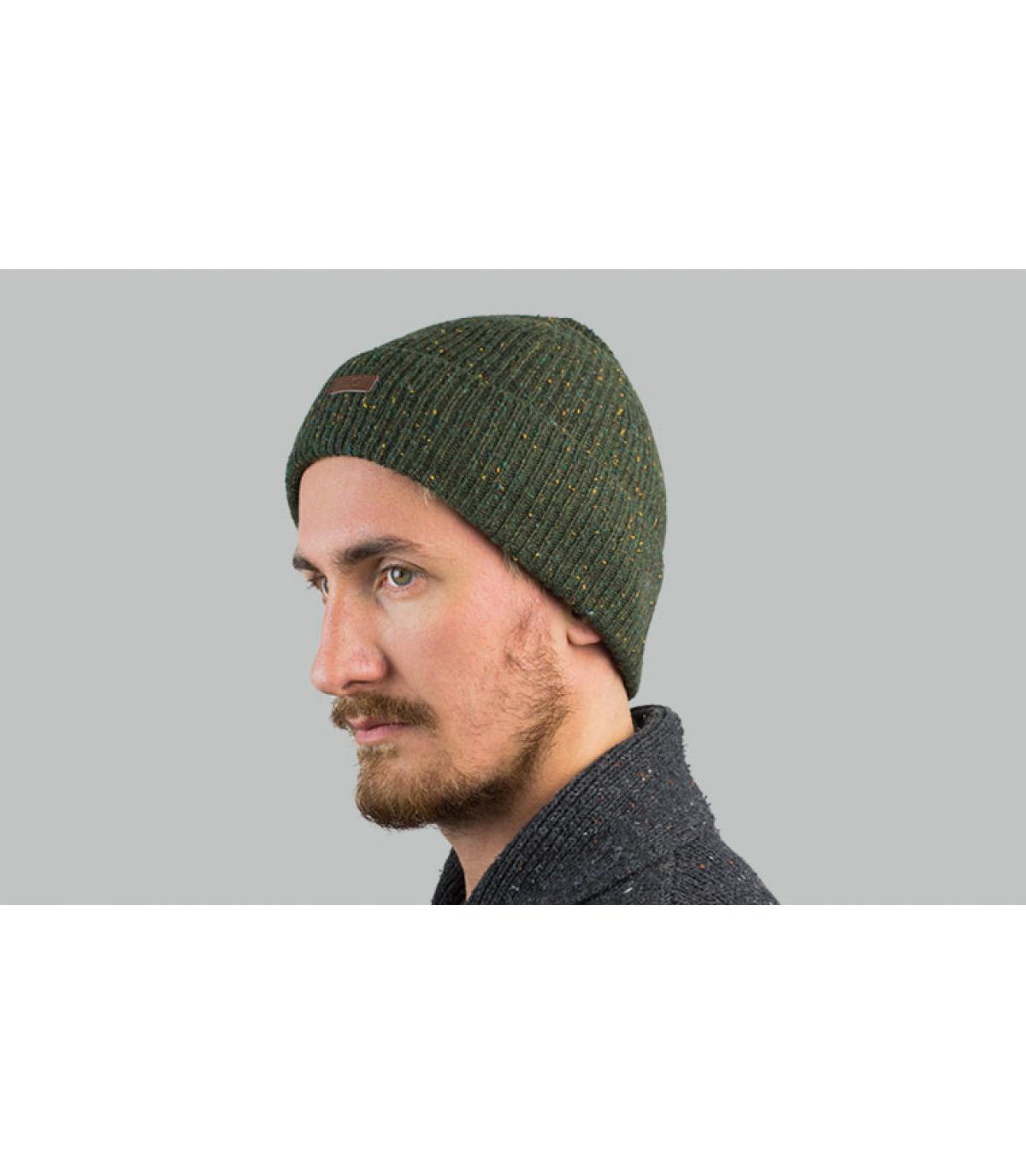 bonnet revers vert chiné