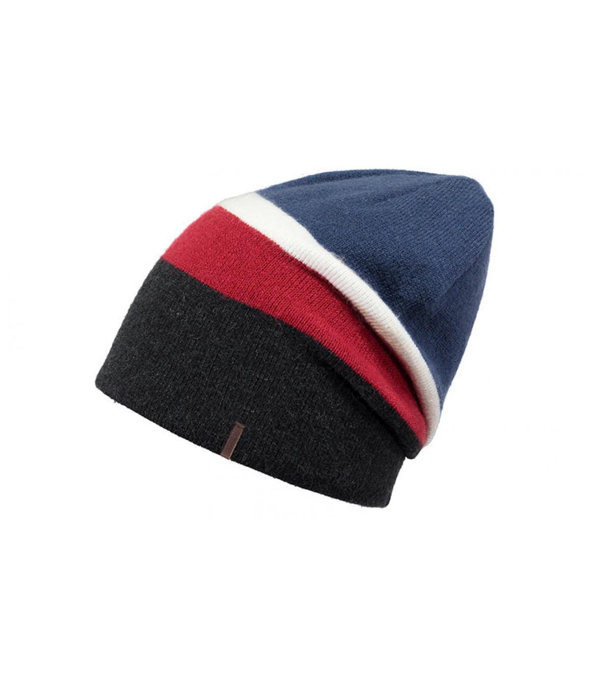 bonnet long noir bleu rouge