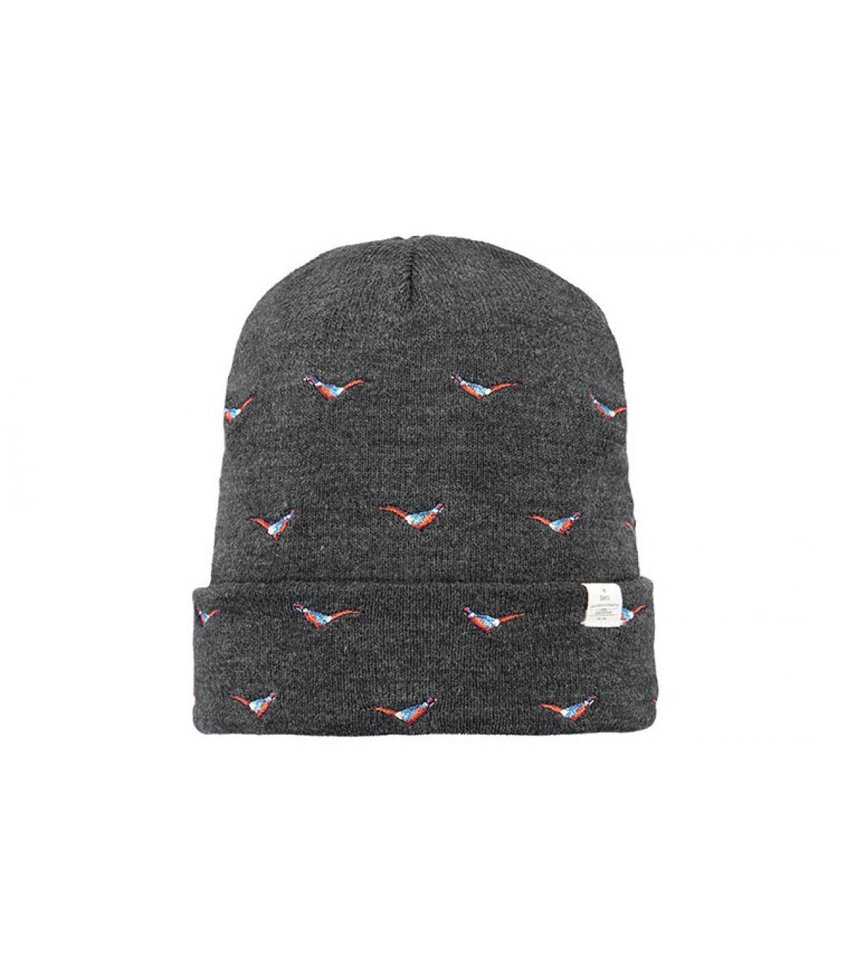 bonnet oiseaux gris revers
