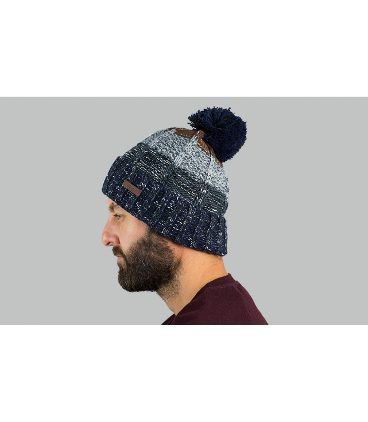 bonnet pompon rayure bleu gris