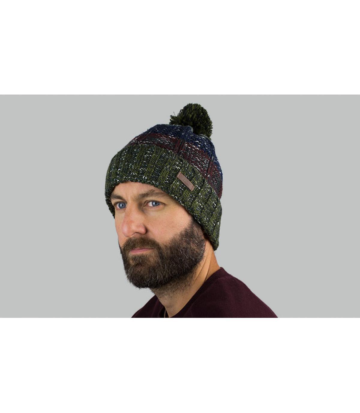 bonnet pompon rayure vert bleu