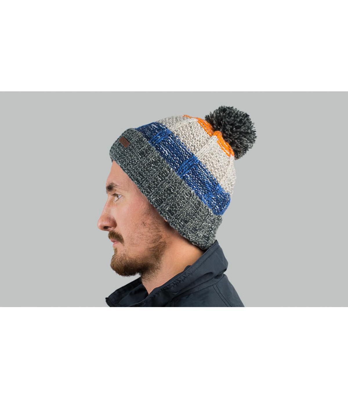 bonnet pompon rayure gris bleu