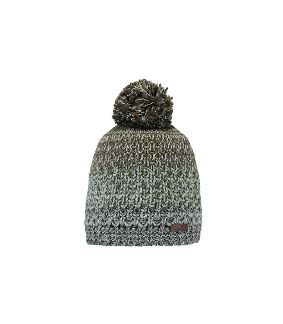 bonnet rayure gris pompon