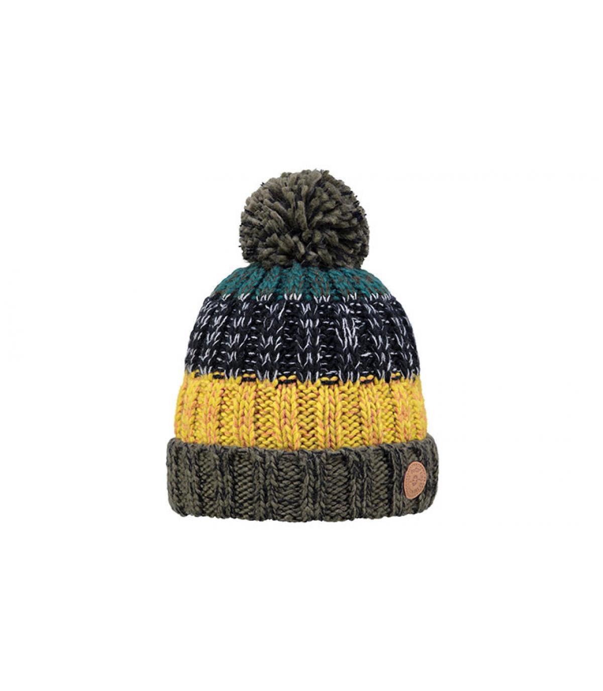 bonnet bleu jaune pompon