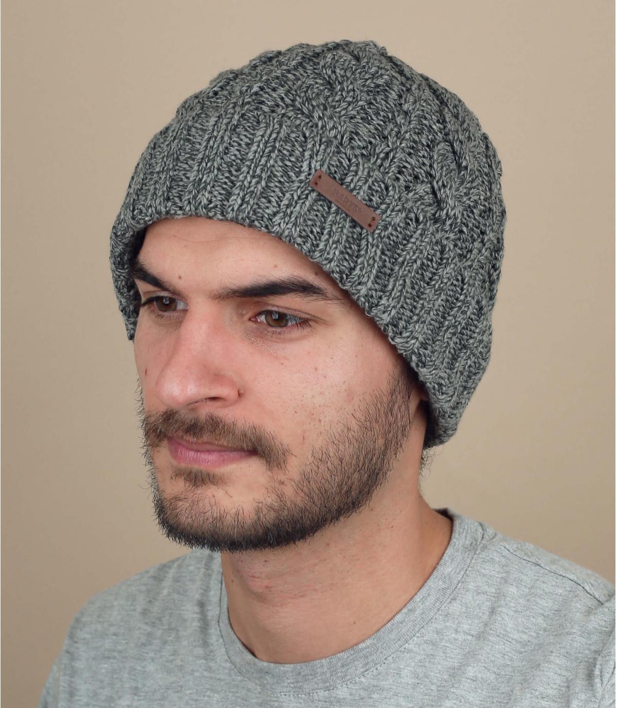 bonnet torsade gris revers