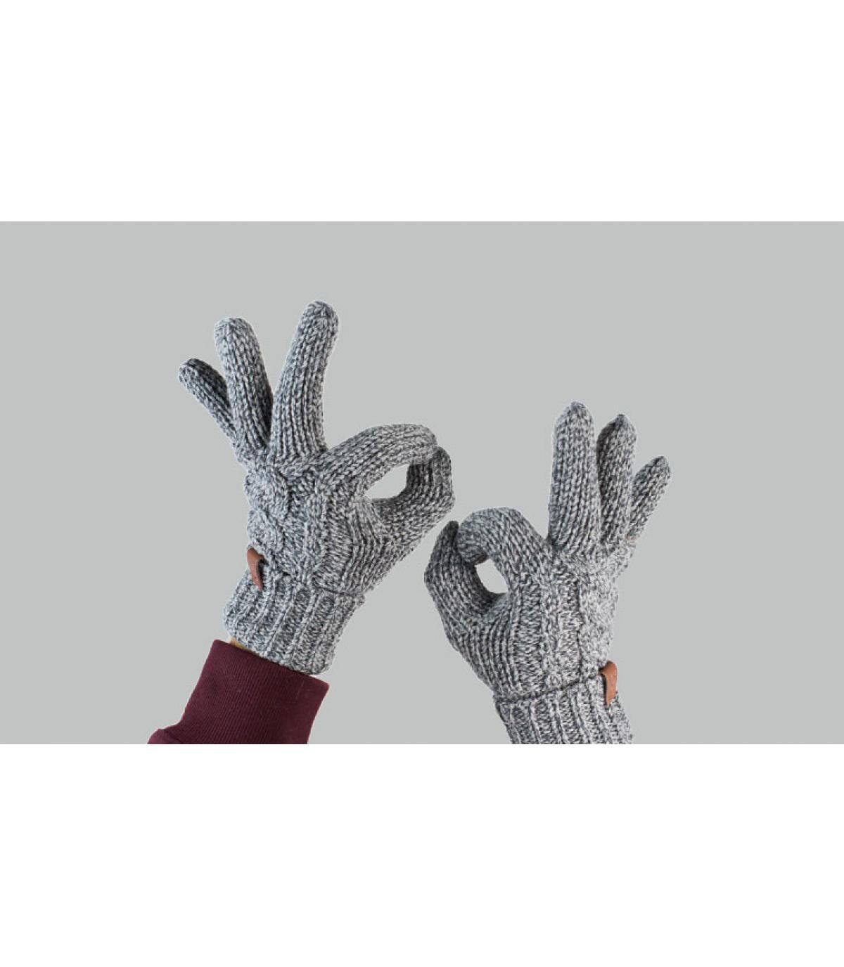 gants gris torsade
