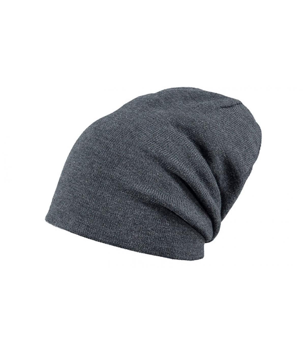 bonnet long gris réversible
