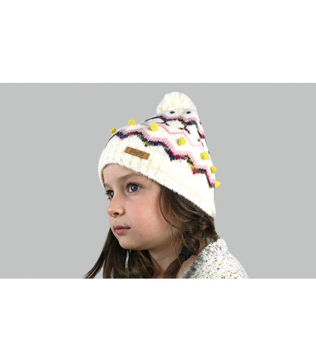 bonnet motif enfant beige pompon