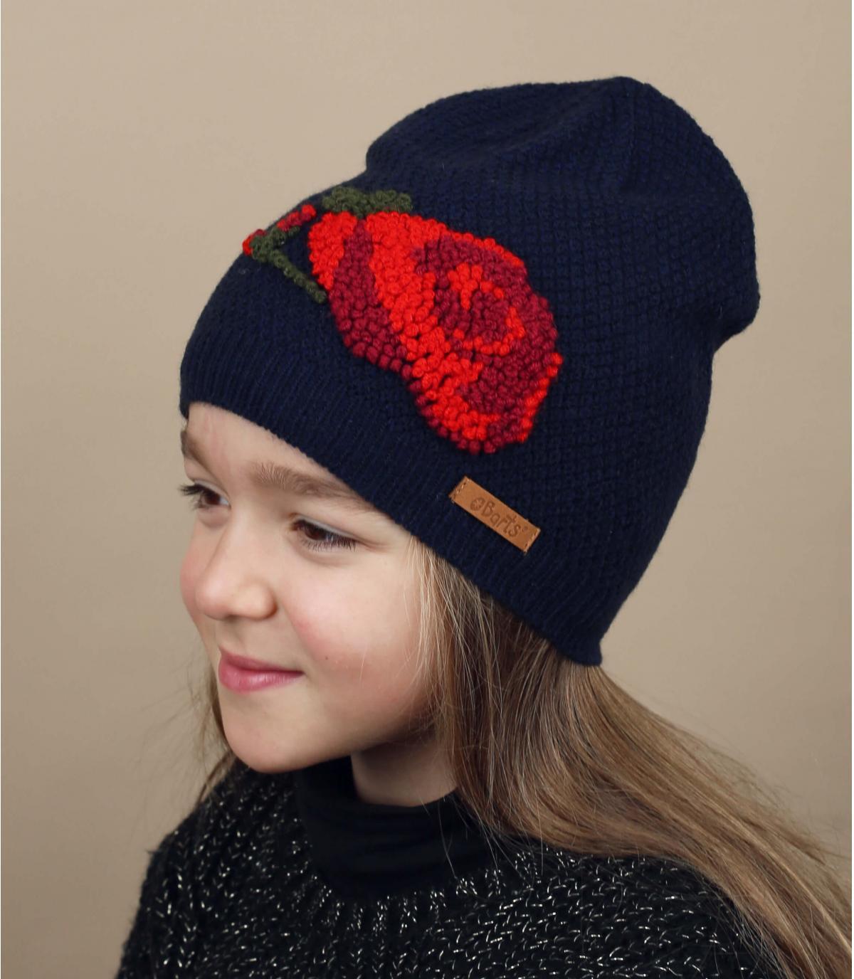 bonnet fleur enfant bleu