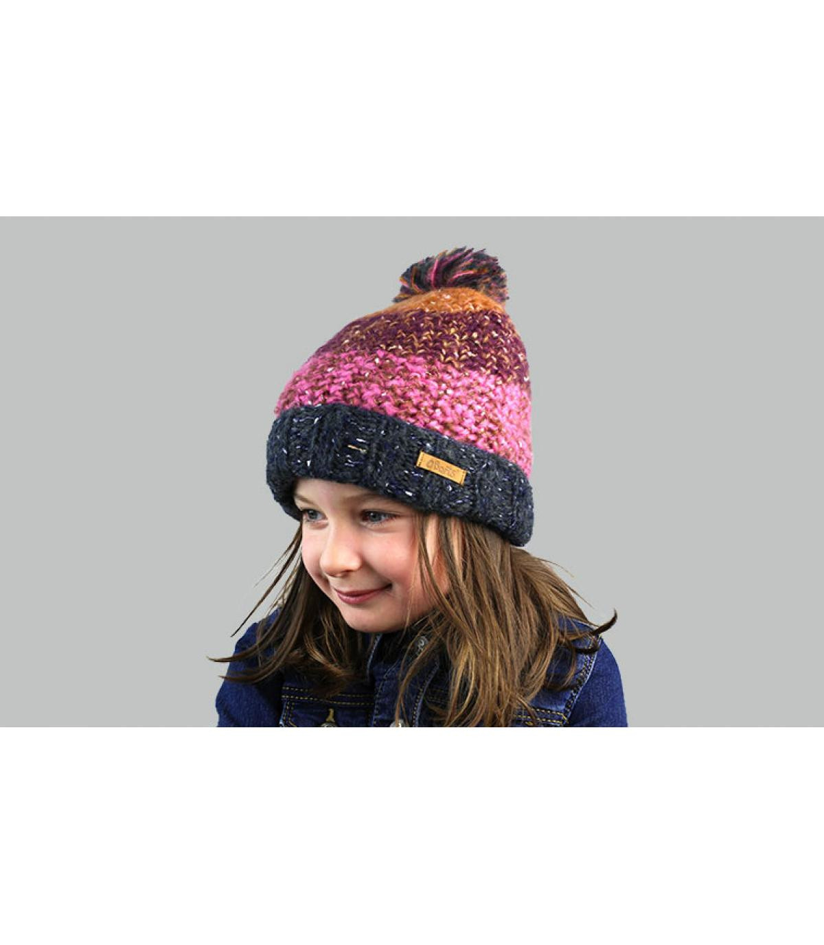 bonnet rayures enfant violet