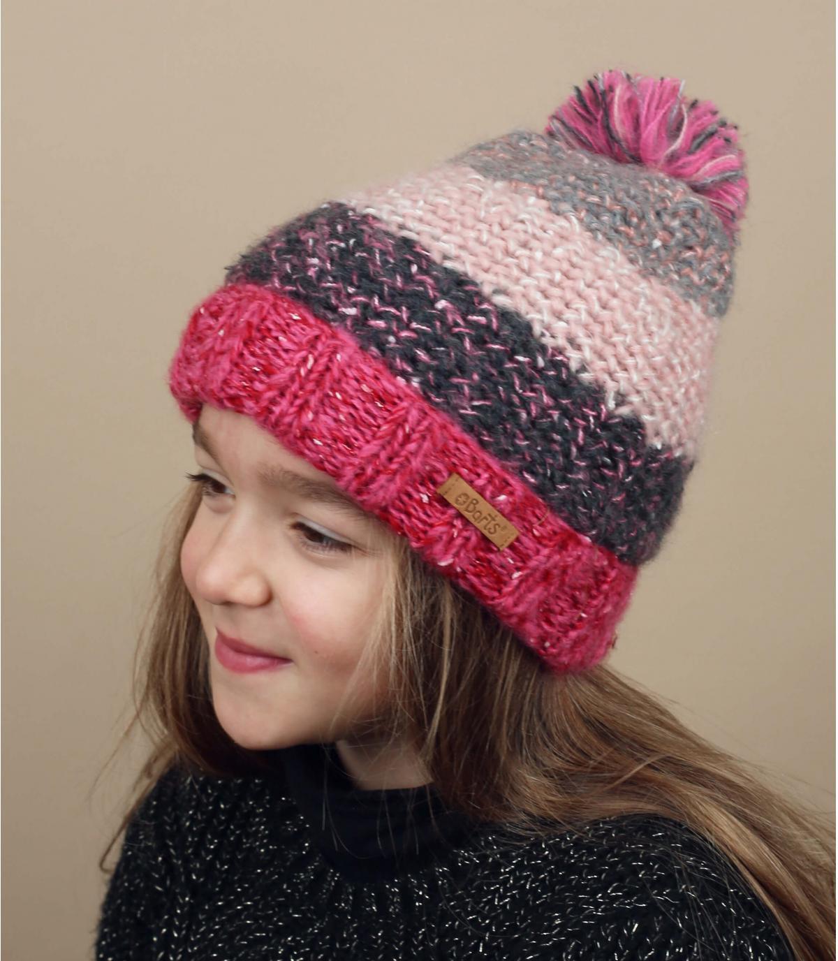 d45c8e0ae91 bonnet rayures enfant rose