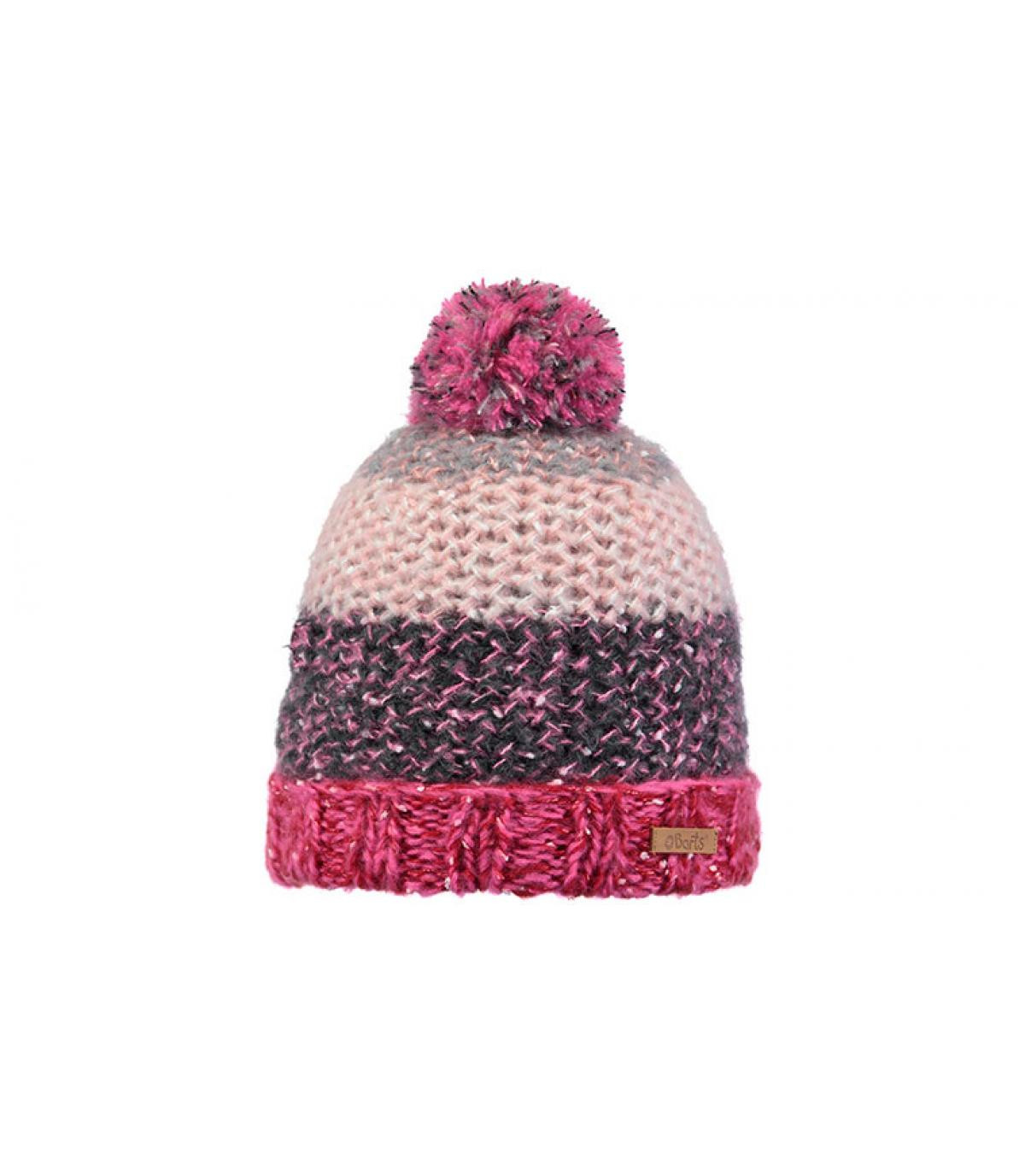 bonnet rayures enfant rose