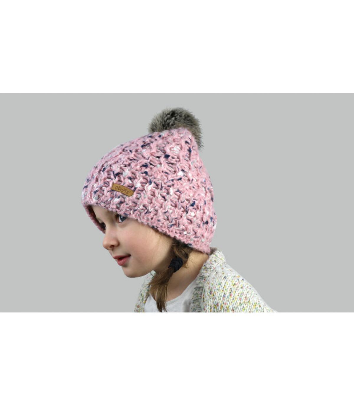 bonnet rose enfant pompon fourrure