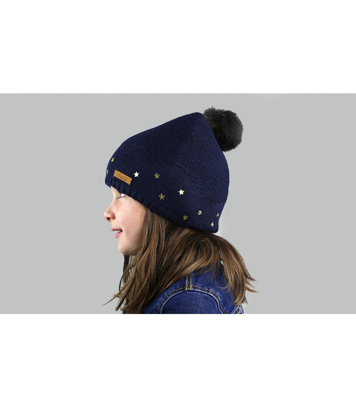 bonnet bleu enfant pompon fourrure