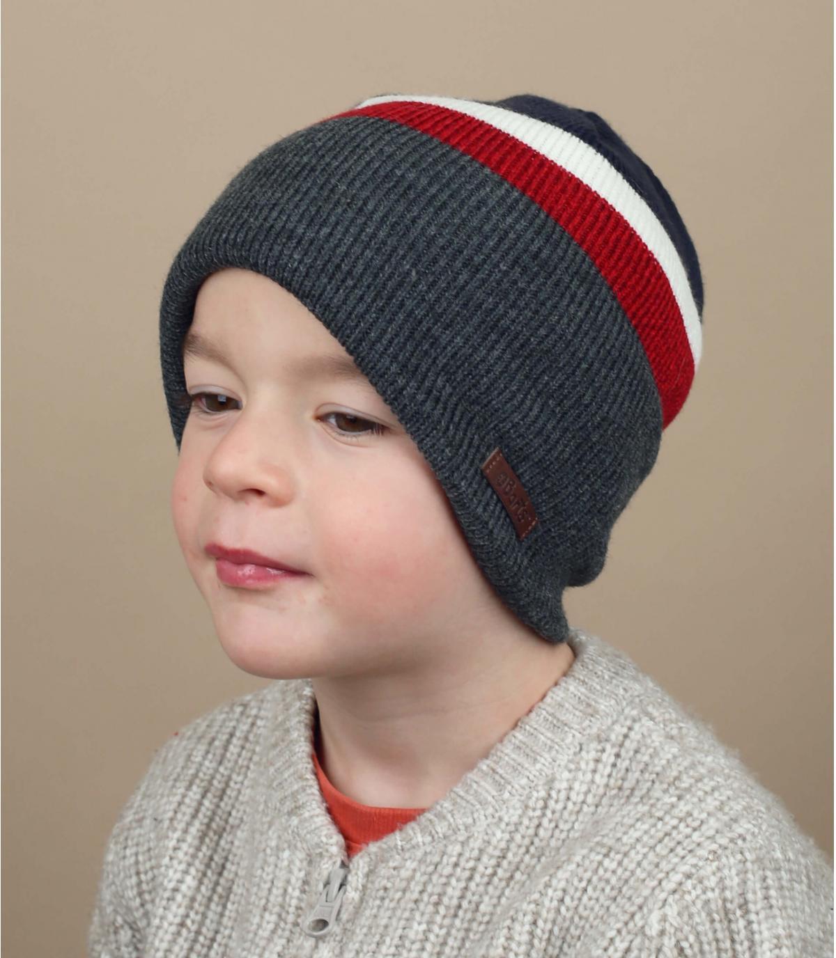 bonnet enfant gris bleu rouge