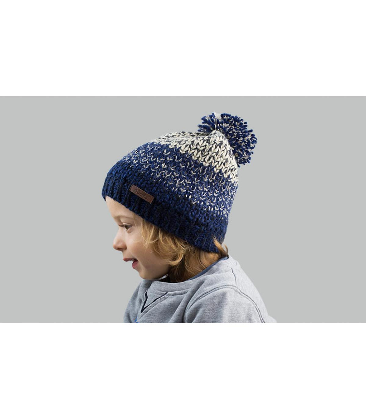 bonnet pompon enfant bleu