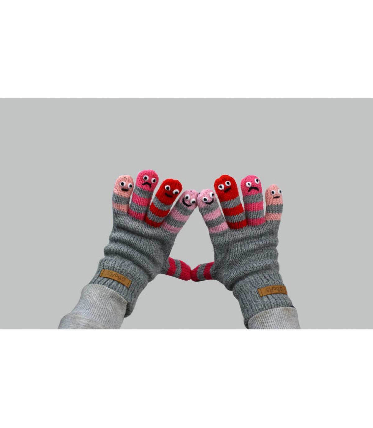 gants gris rose enfant