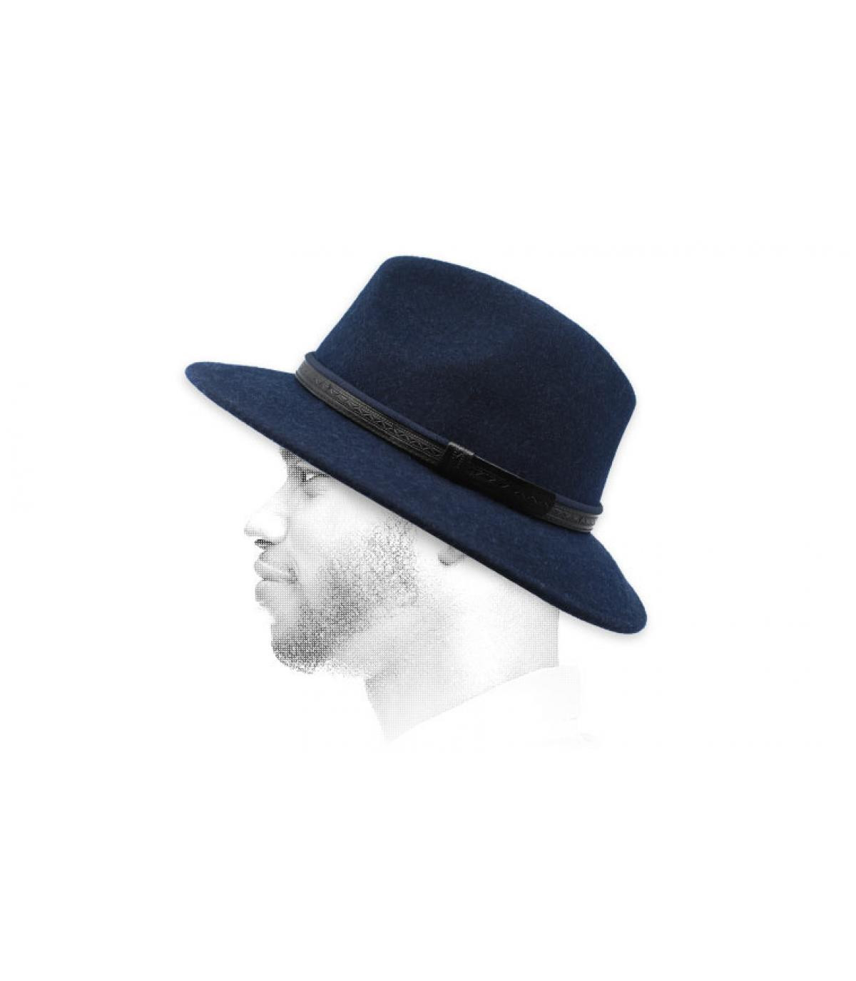 fédora bleu marine laine