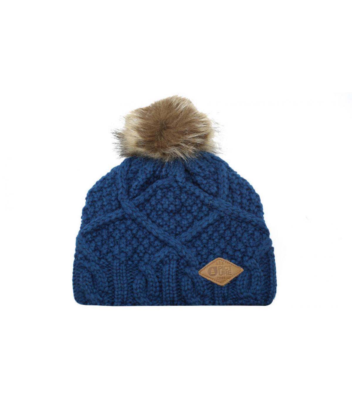 bonnet bleu pompon fourrure