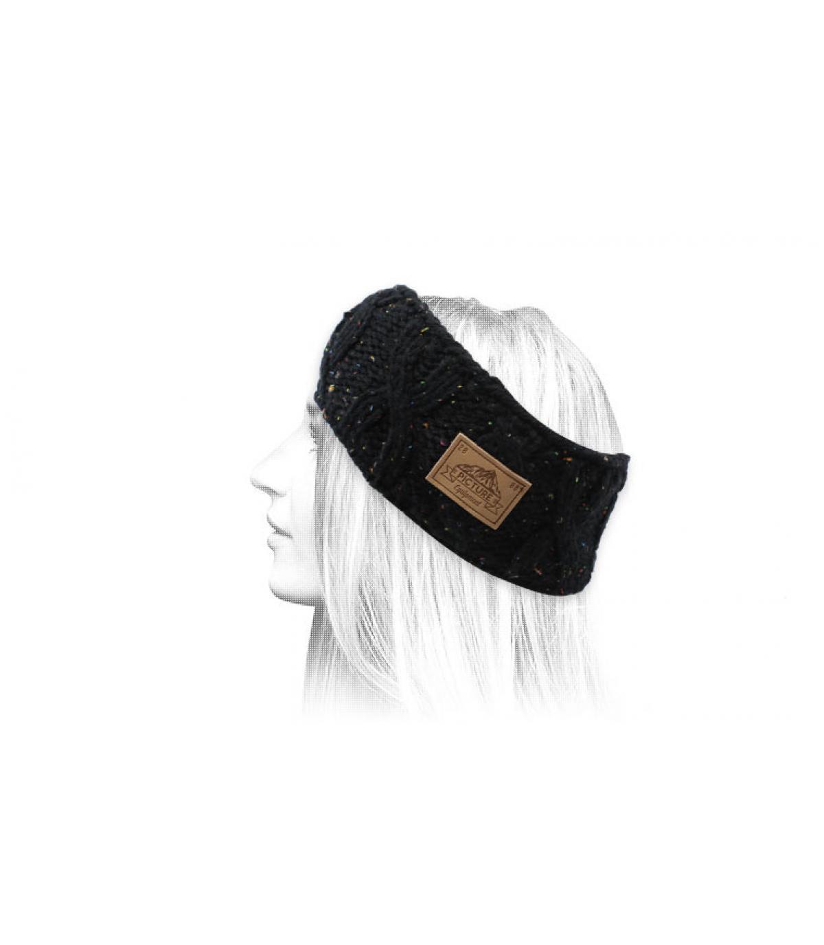 bonnet pompon noir chiné
