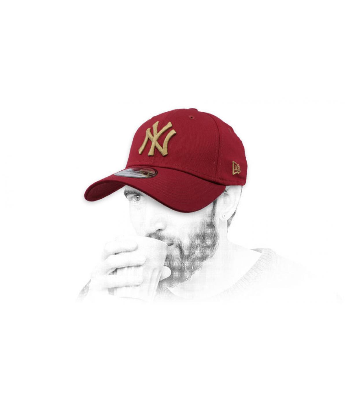 casquette NY bordeaux