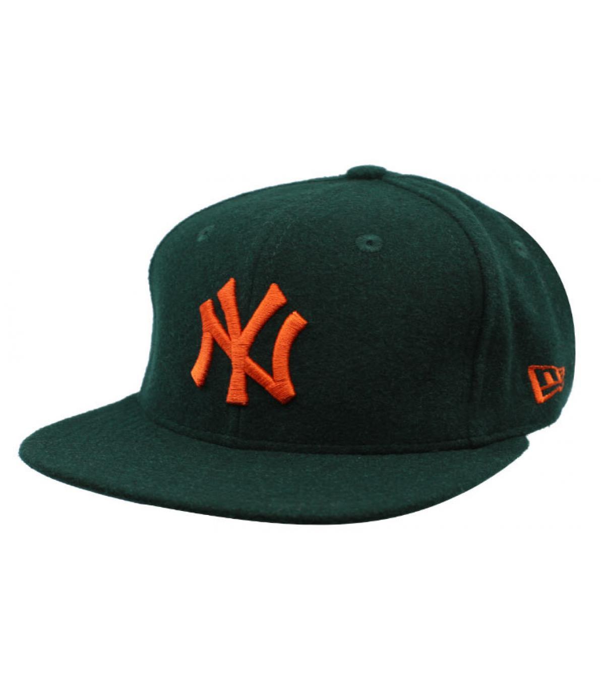 Détails Snapback Winter Utility NY Melton 9Fifty dark green orange - image 2