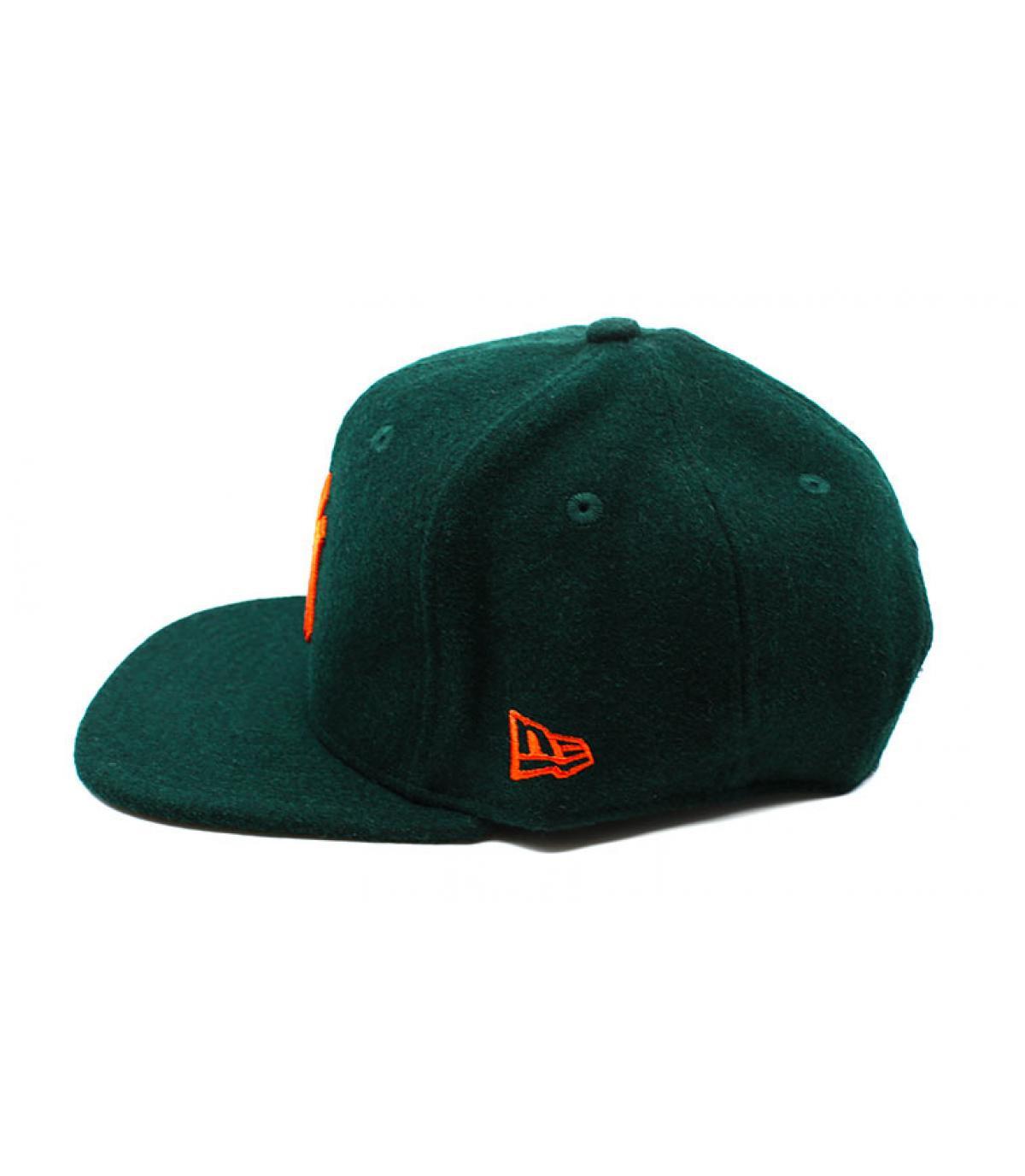 Détails Snapback Winter Utility NY Melton 9Fifty dark green orange - image 4