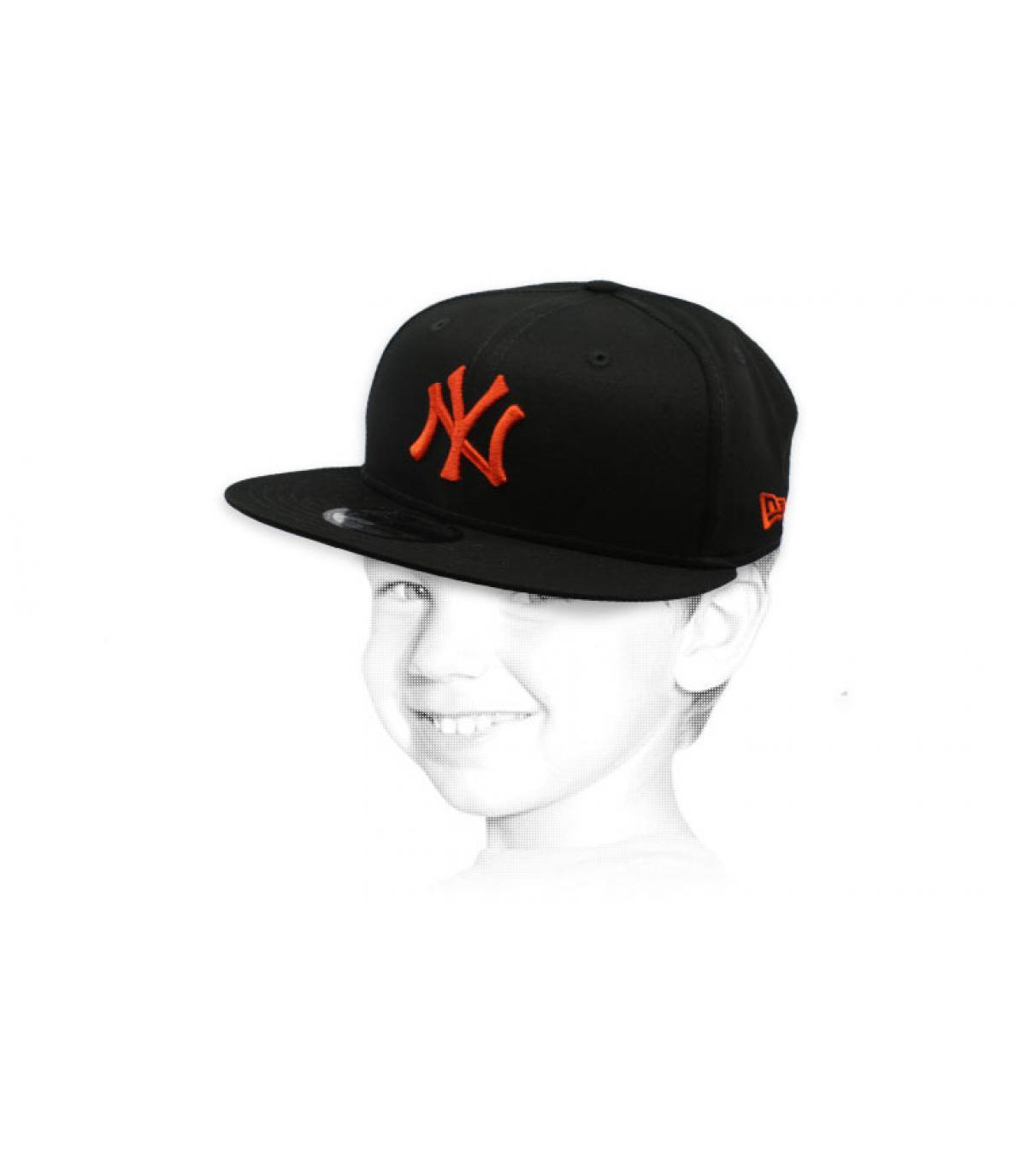 snapback enfant NY noir orange