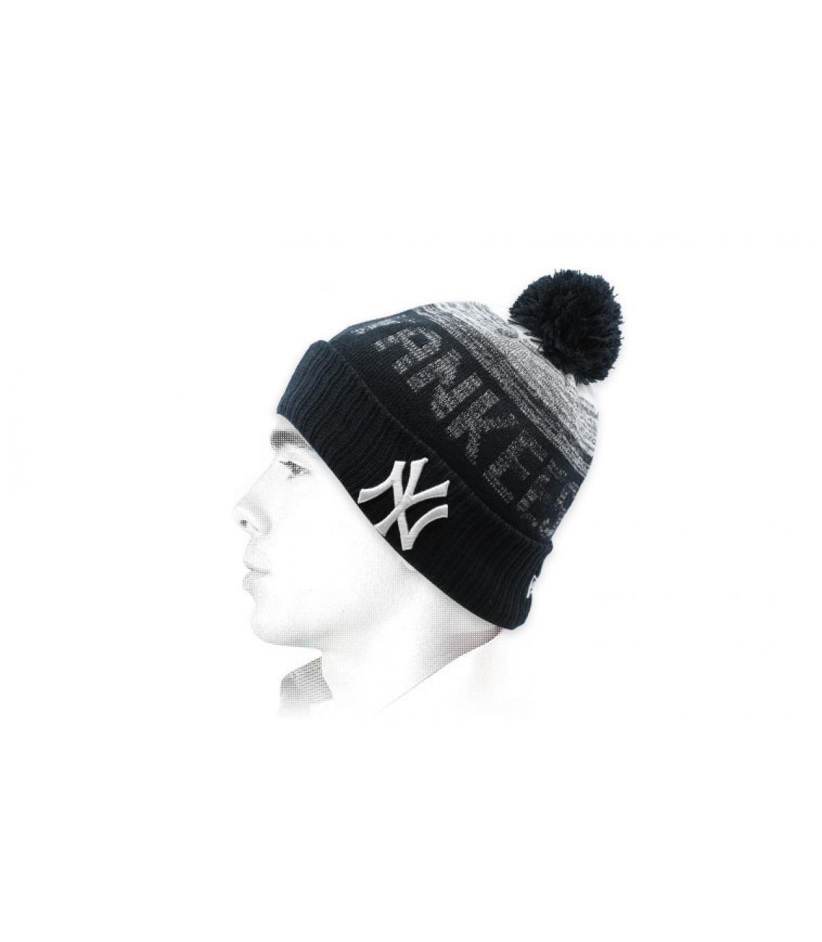 bonnet Yankees pompon noir
