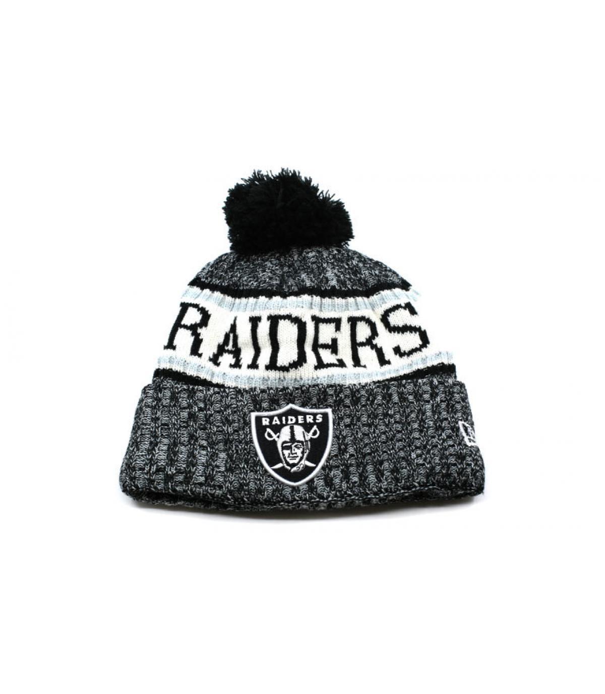 bonnet Raiders pompon gris