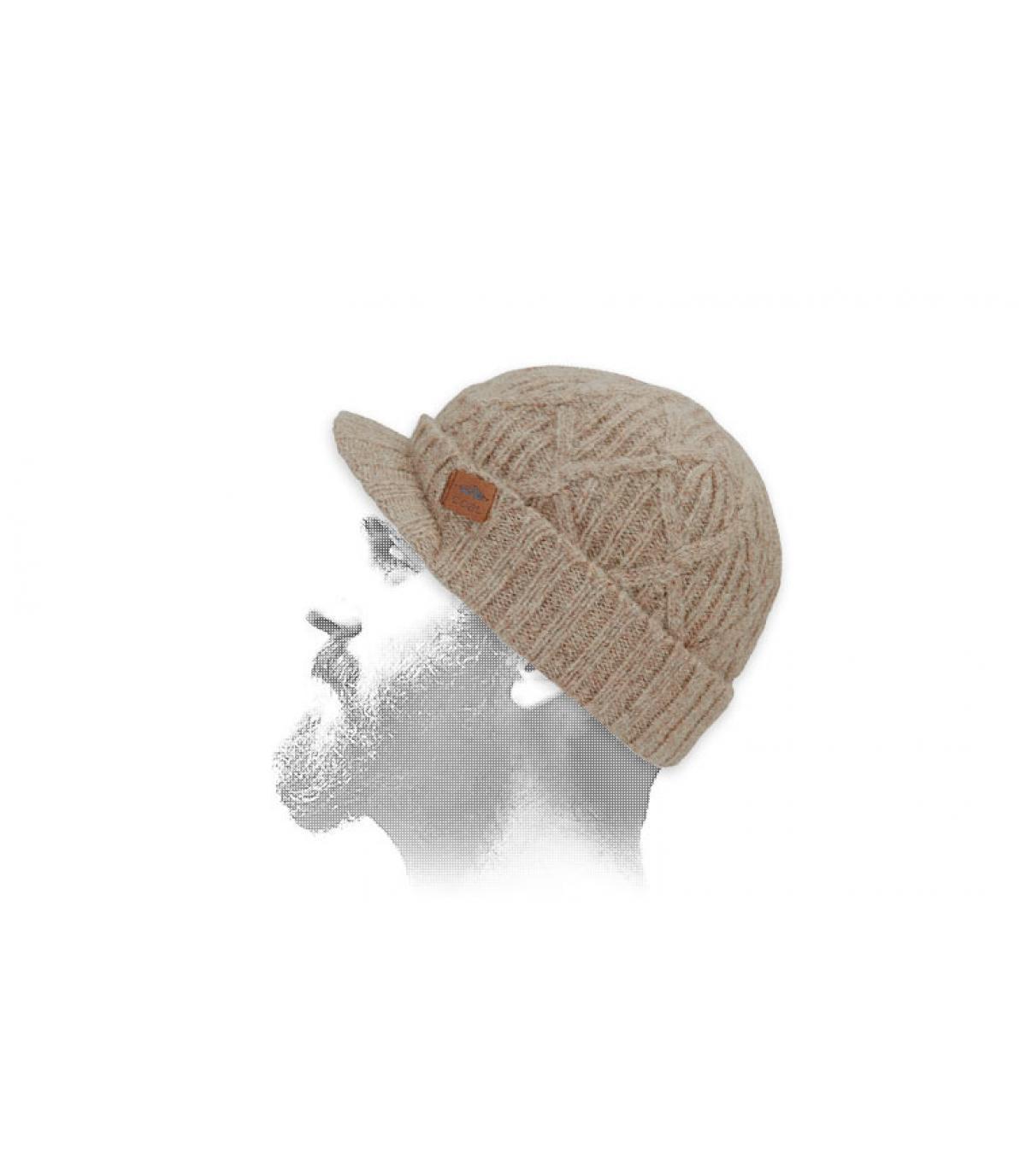 bonnet visière torsade beige