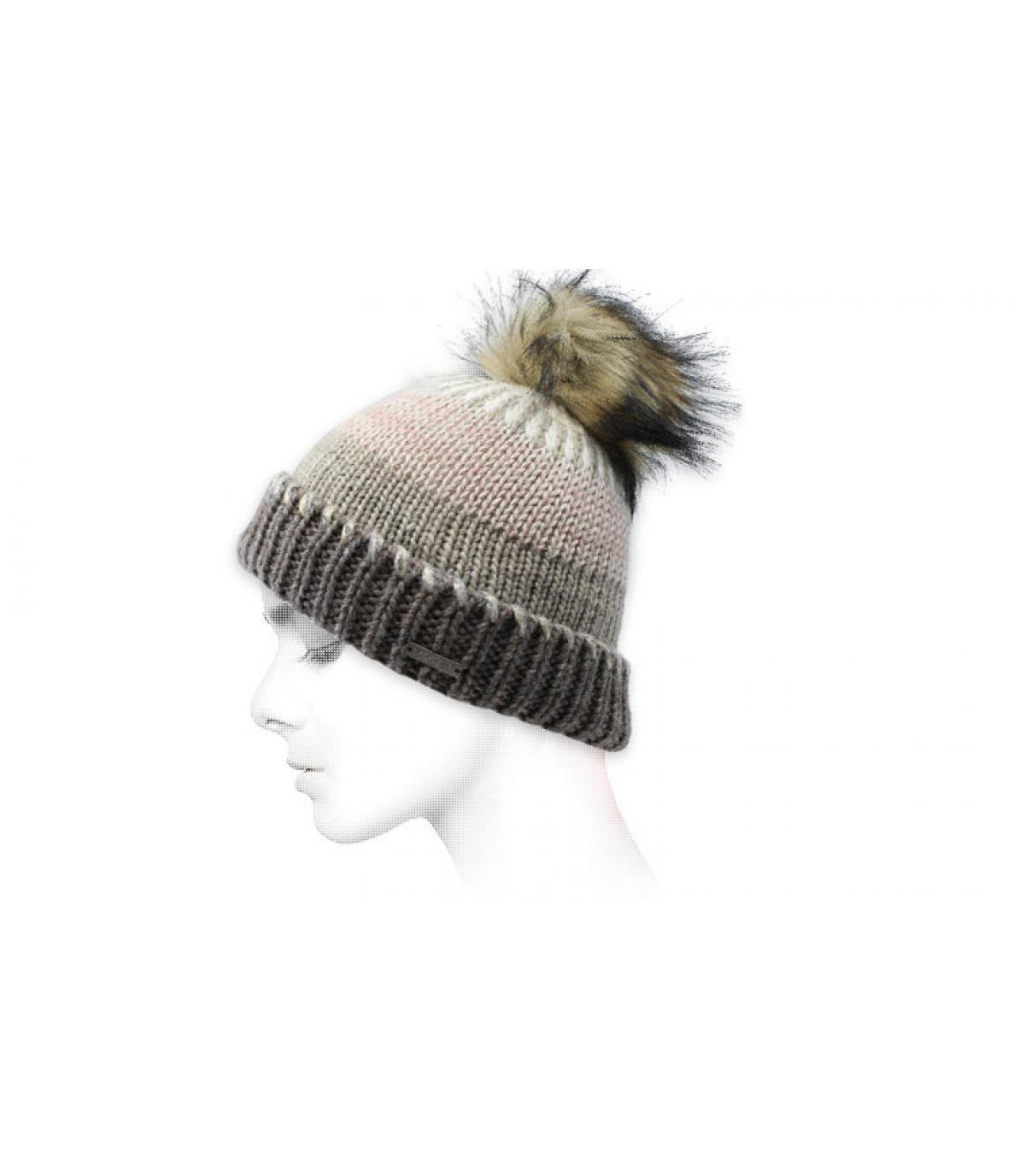 bonnet rayures gris beige