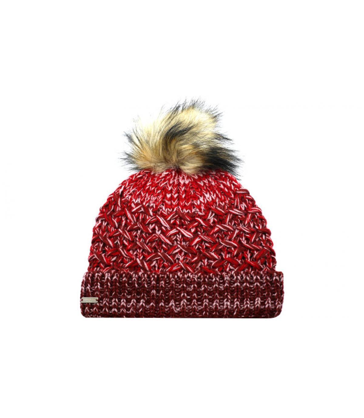 bonnet bordeaux pompon fourrure