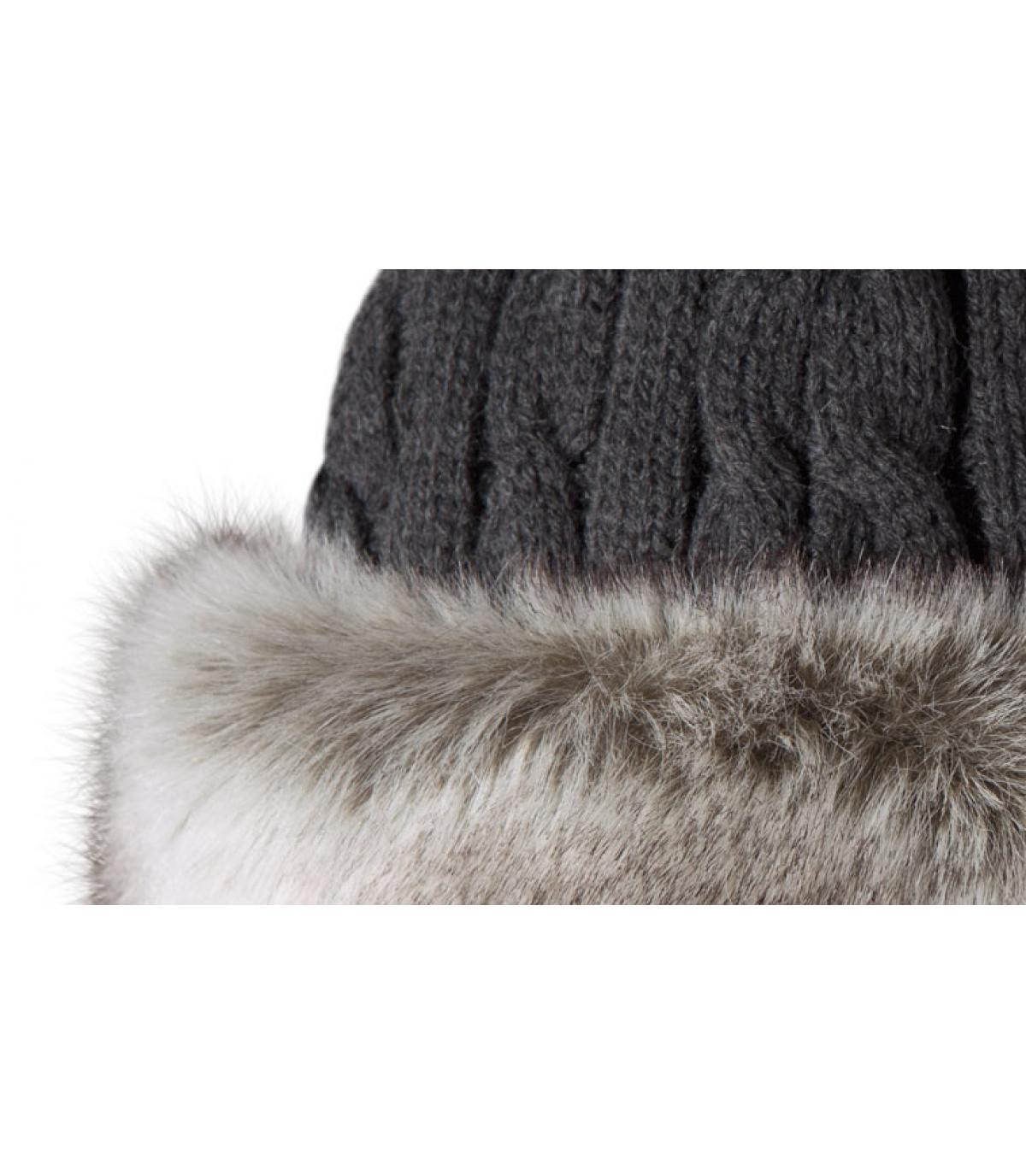 Bonnet bande fourrure grise