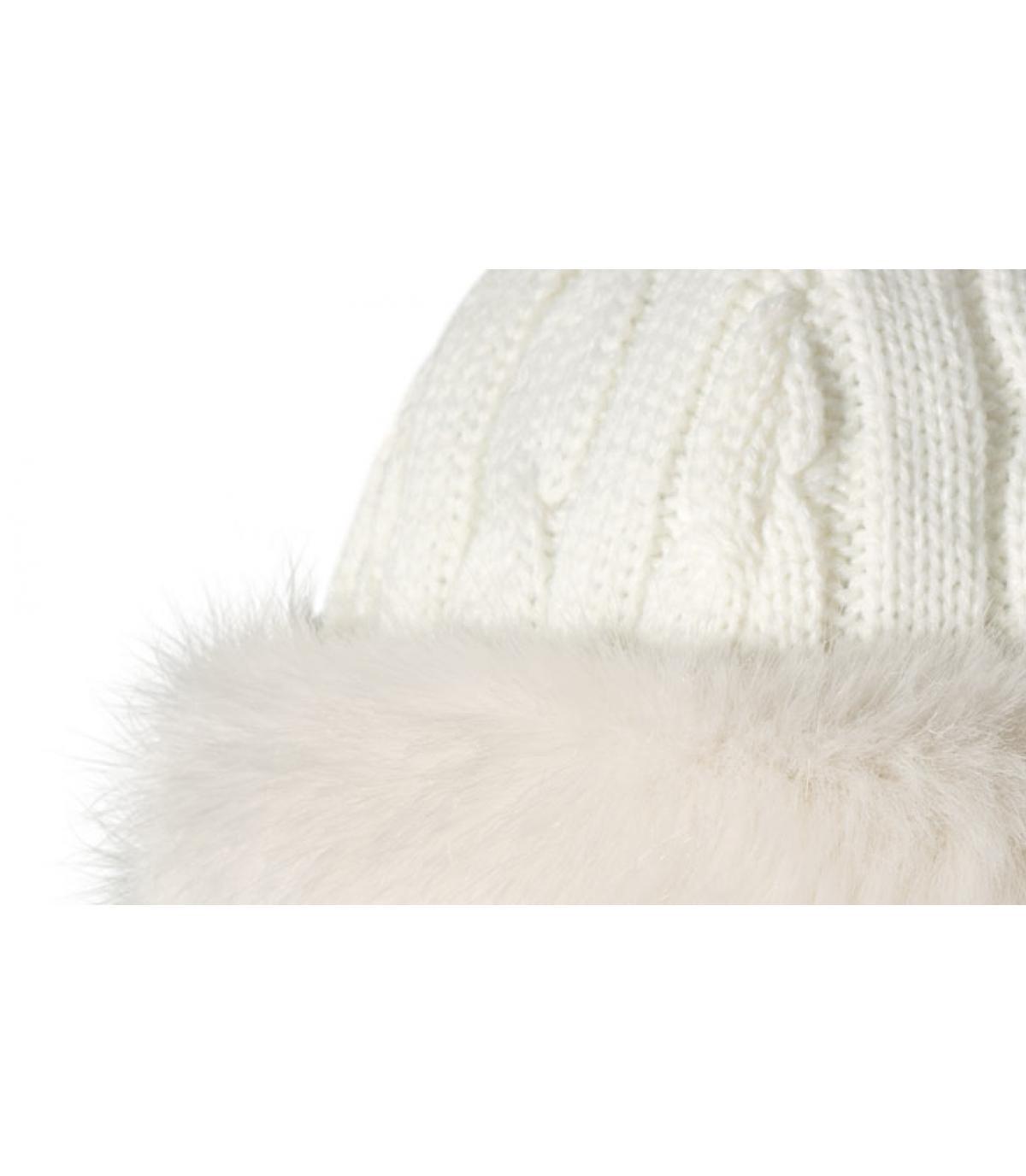 Bonnet bande fourrure blanc