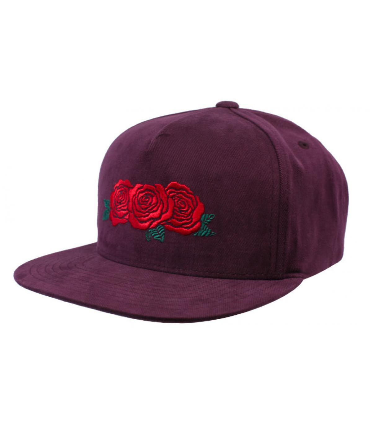 snapback bordeaux Huf roses