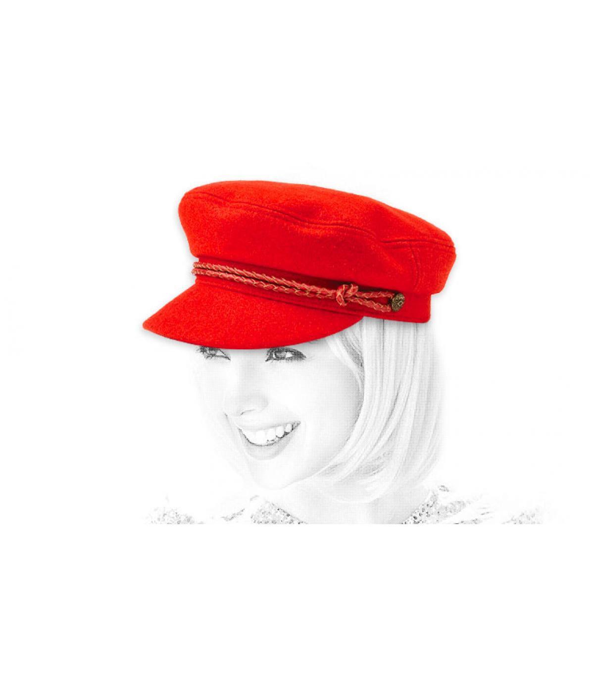 casquette marin femme rouge