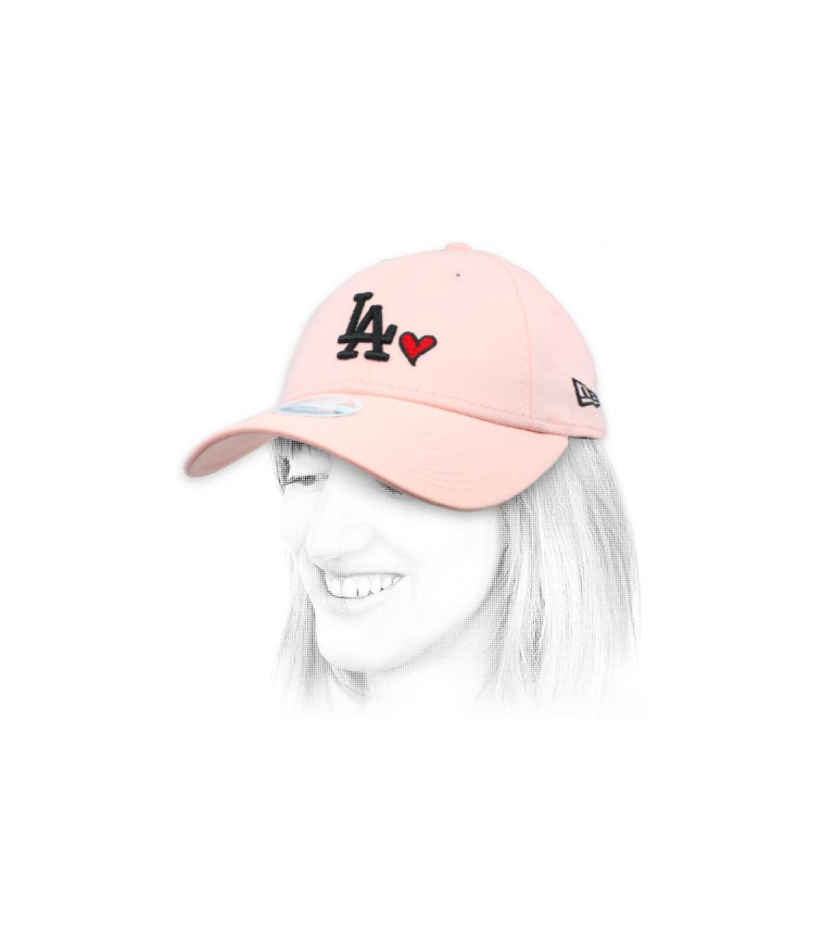casquette femme LA cœur rose