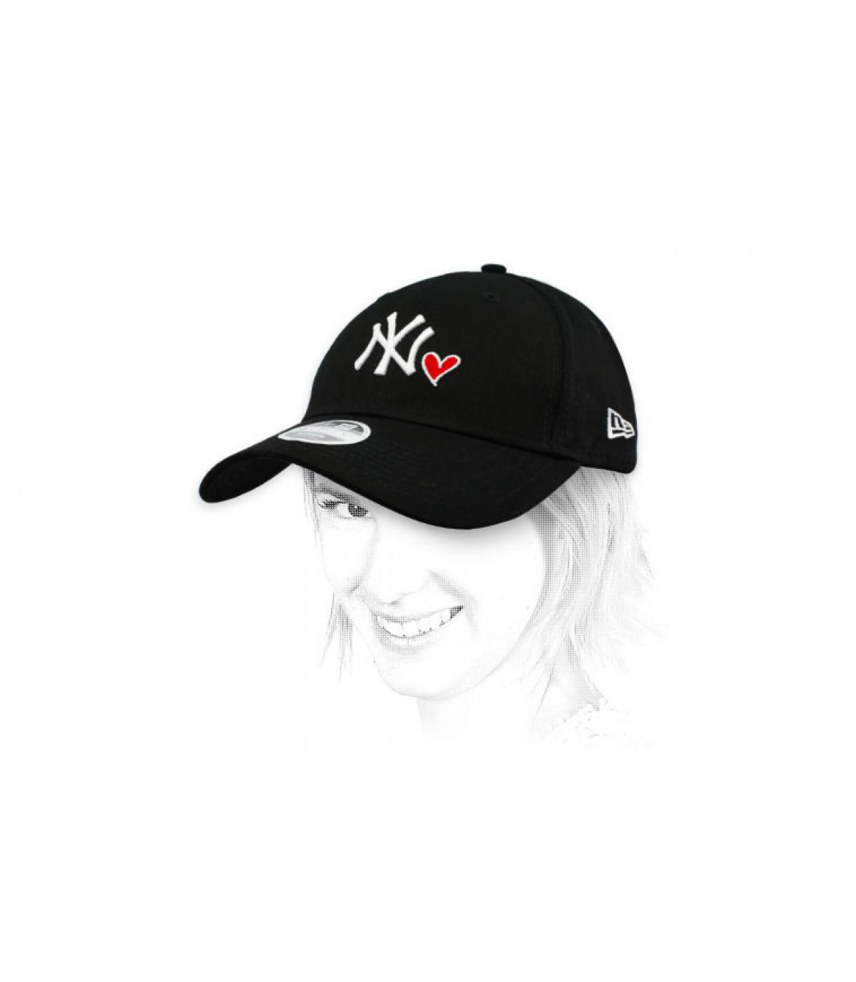 casquette femme NY cœur noir