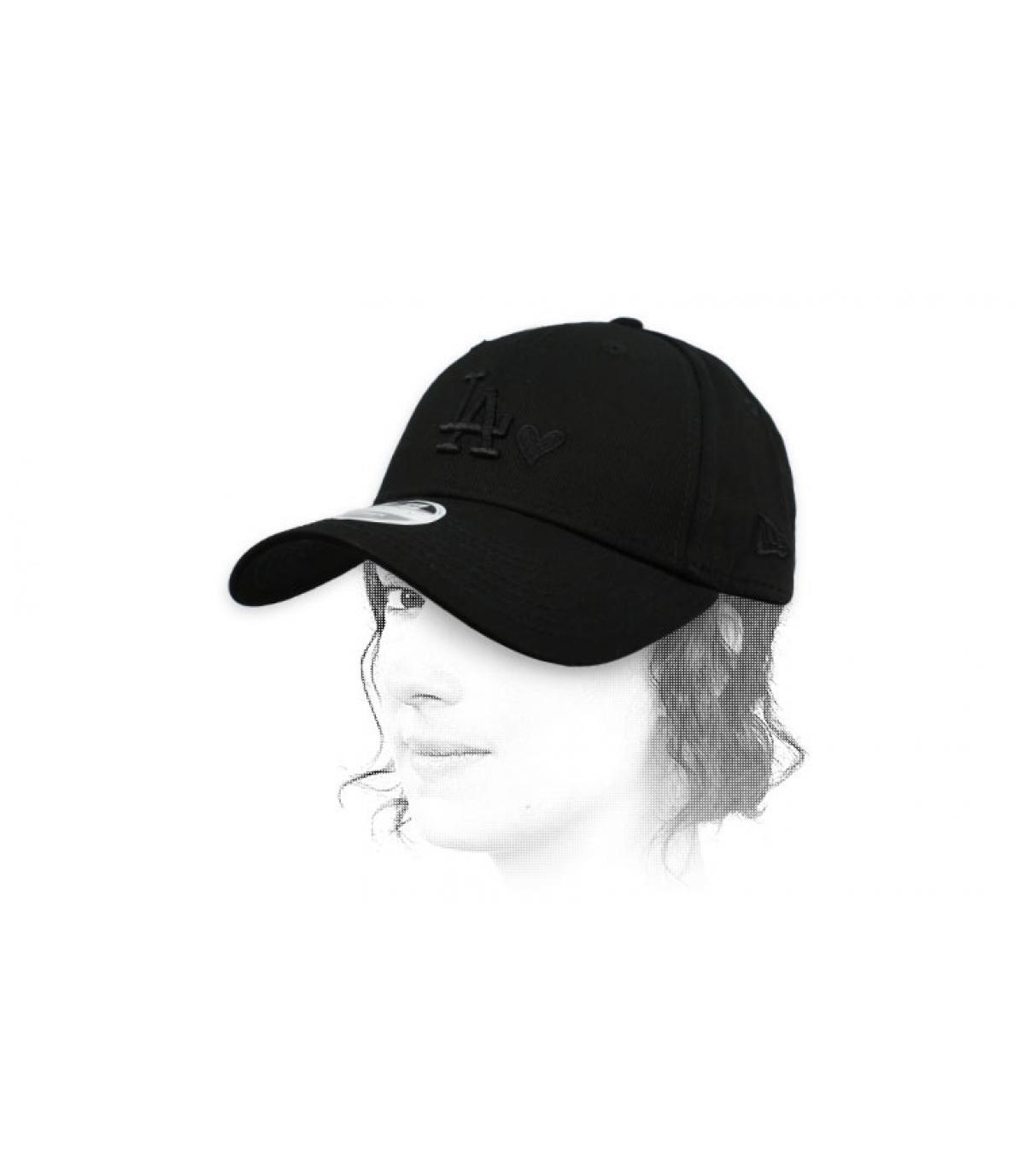 casquette femme LA cœur noir