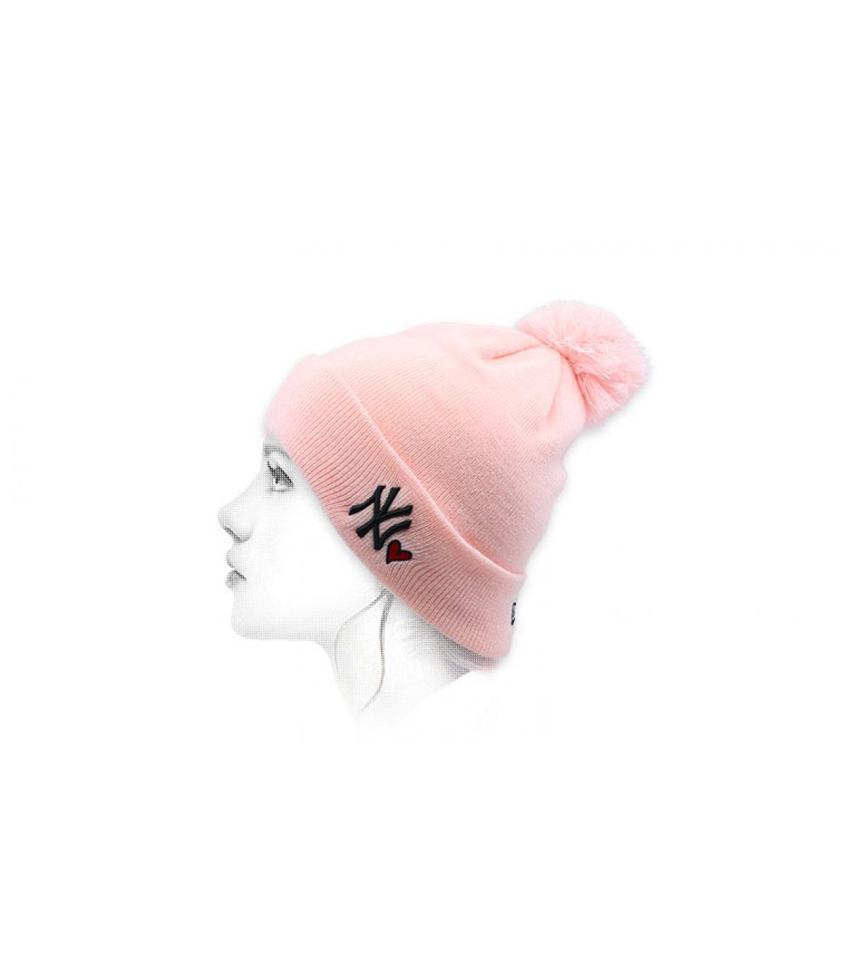 bonnet NY cœur rose