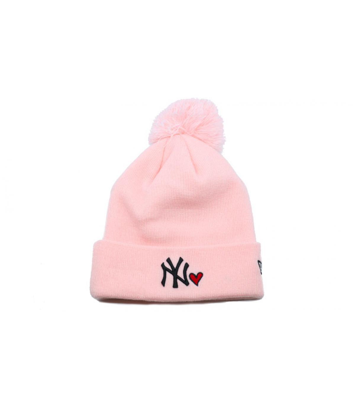 667bb29cc629c bonnet NY cœur rose - Bonnet Wmns Heart NY knit pink par New Era ...
