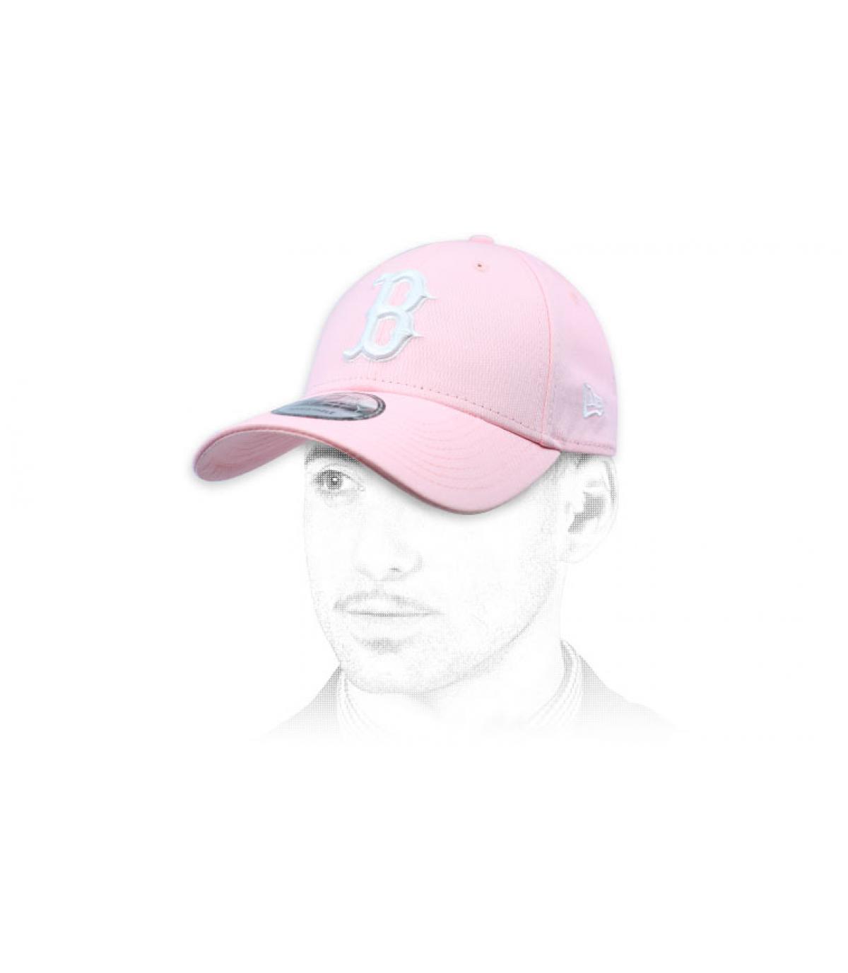 casquette B rose blanc