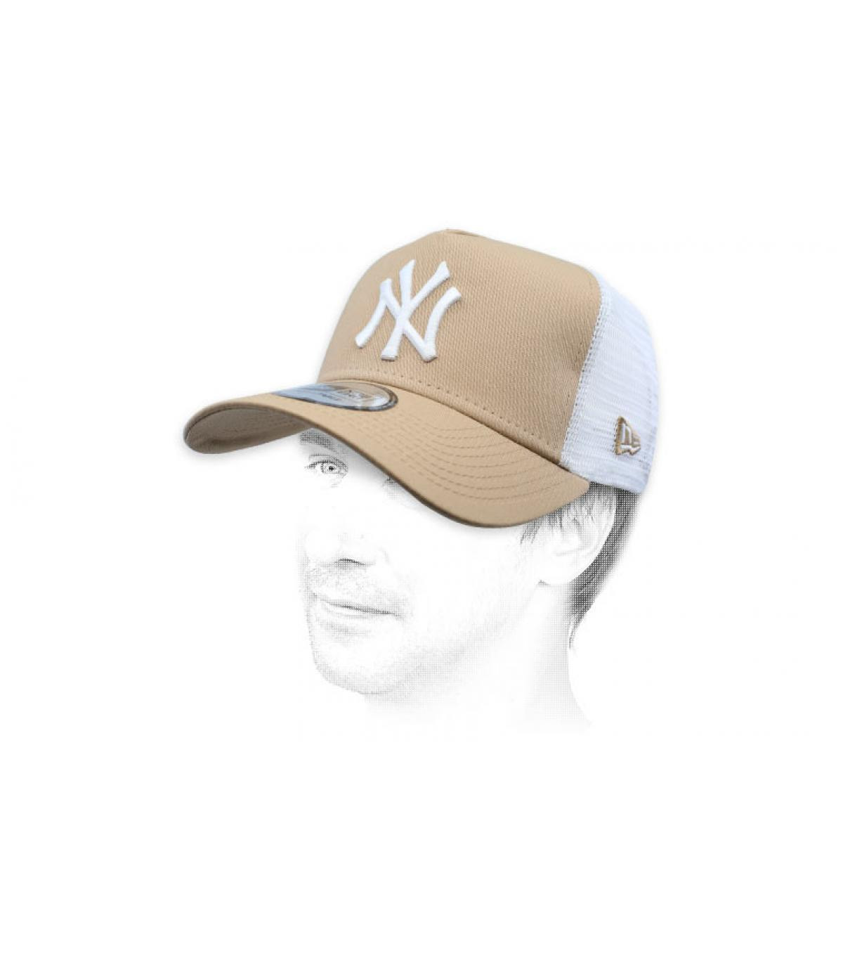 trucker NY beige blanc
