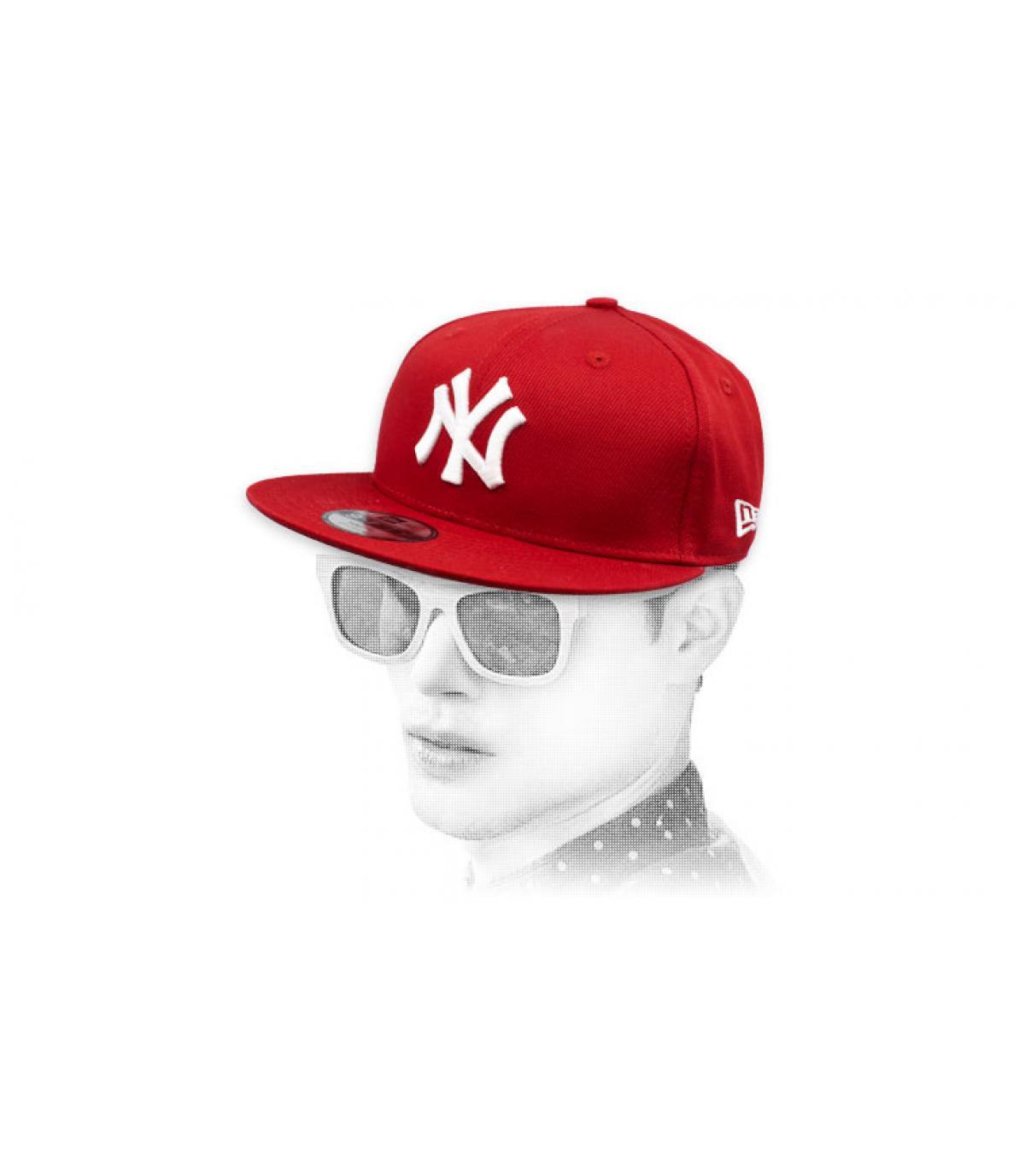 snapback NY bordeaux blanc