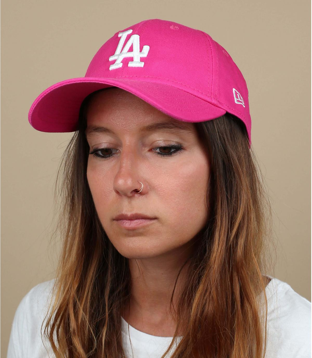 casquette LA femme rose
