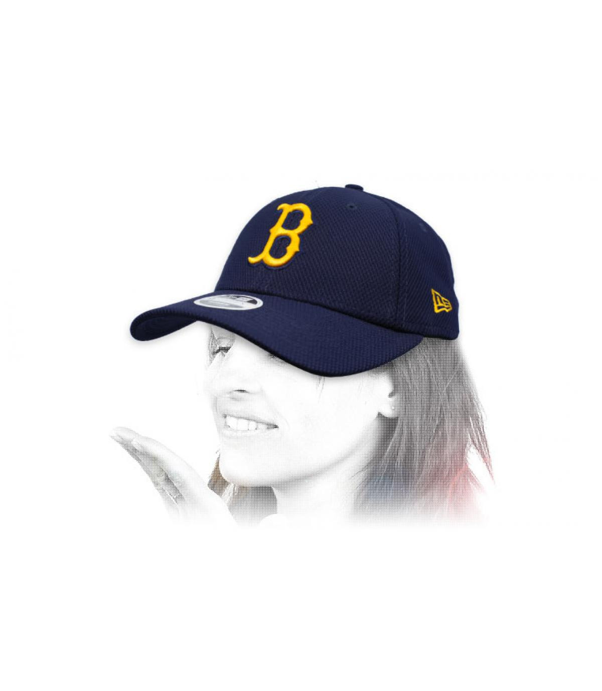 casquette B femme bleu jaune