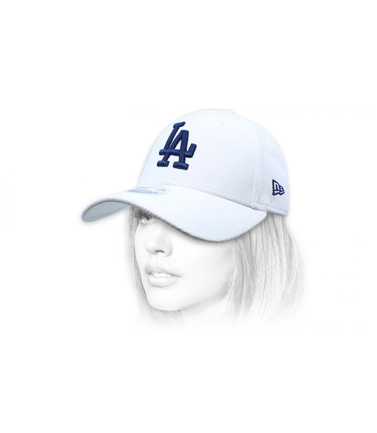 casquette LA femme blanc bleu
