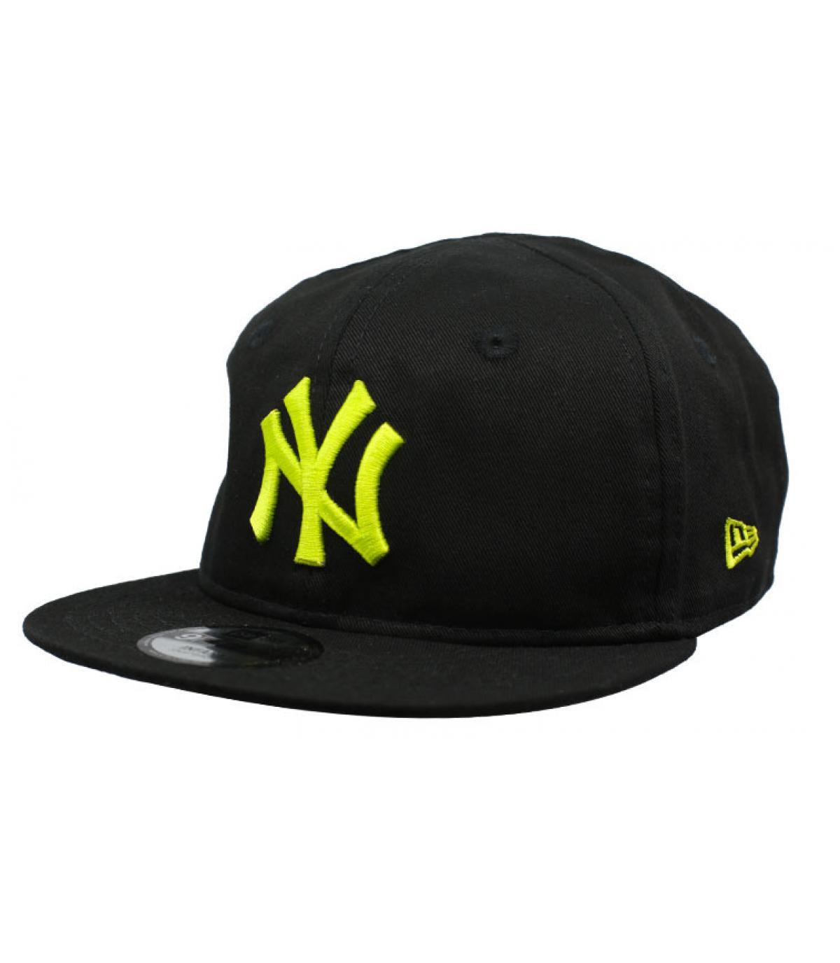 casquette bébé NY noir jaune