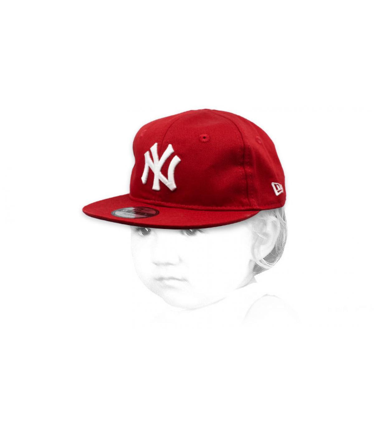 casquette bébé NY rouge blanc